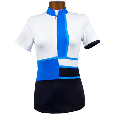 Catwalk Mock Short Sleeve Top - Blue/Black