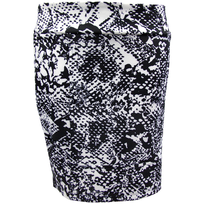 Womens Catwalk Pocket Skirt - Black Print Scuba