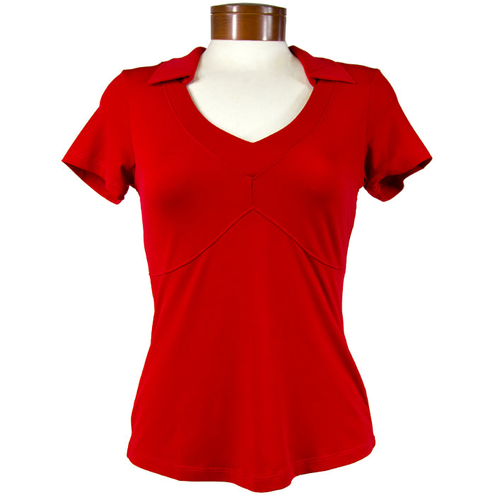 Catwalk Taylor Short Sleeve Golf Top - Red