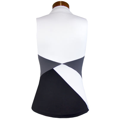 Catwalk 1143 Sleeveless Golf Top - White/Black/Grey