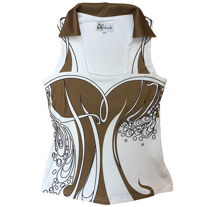 Catwalk Cassandra Sleeveless Golf Top - Bronze