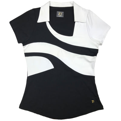 Womens Catwalk Short Sleeve Top - Black - White - Fitted