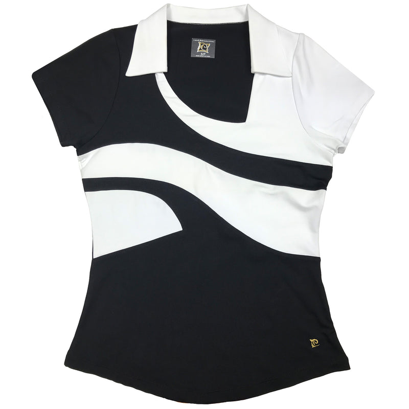 Catwalk Short Sleeve Top - Black - White - Fitted