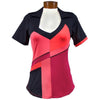 Catwalk Carol Short Sleeve Golf Top - Beet/Black