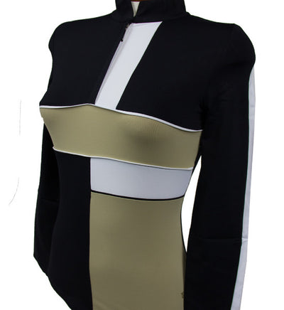 Catwalk Mock Long Sleeve Top - Black/Beige