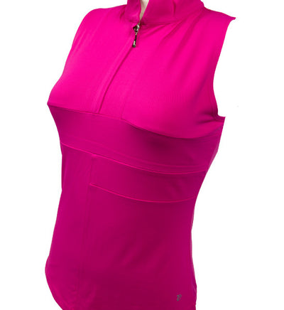 Catwalk Mock Sleeveless Top - Pink