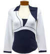 Catwalk Kayli Relaxed Fit LS Golf Top - Navy/White