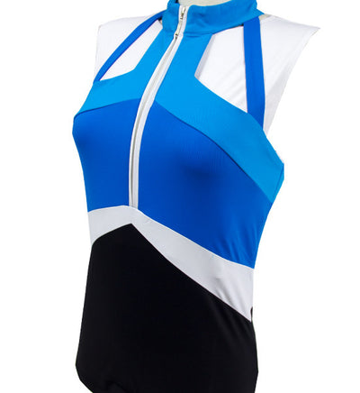 Catwalk Convertible Sleeveless Top - Blue/White/Black