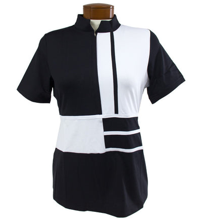 Catwalk Relaxed Mock Short Sleeve Golf Top - BKW