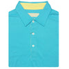 Mens Short Sleeve Classic Lacoste Style Solid PIQUE SELF COLLAR - AQUA/BUTTER