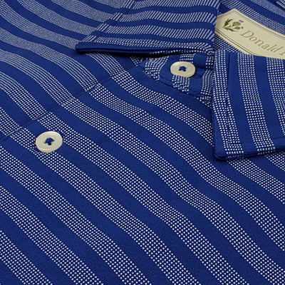 Donald Ross Mens Short Sleeve JAQUARD STRIPED Jersey polo, Self Collar - NAVY