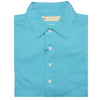 Mens Short Sleeve Classic PIQUE, SELF COLLAR, LEFT POCKET - AQUA
