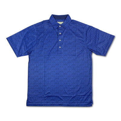 Donald Ross Mens Micro Floral Print Polo - NAVY / ATLANTIC