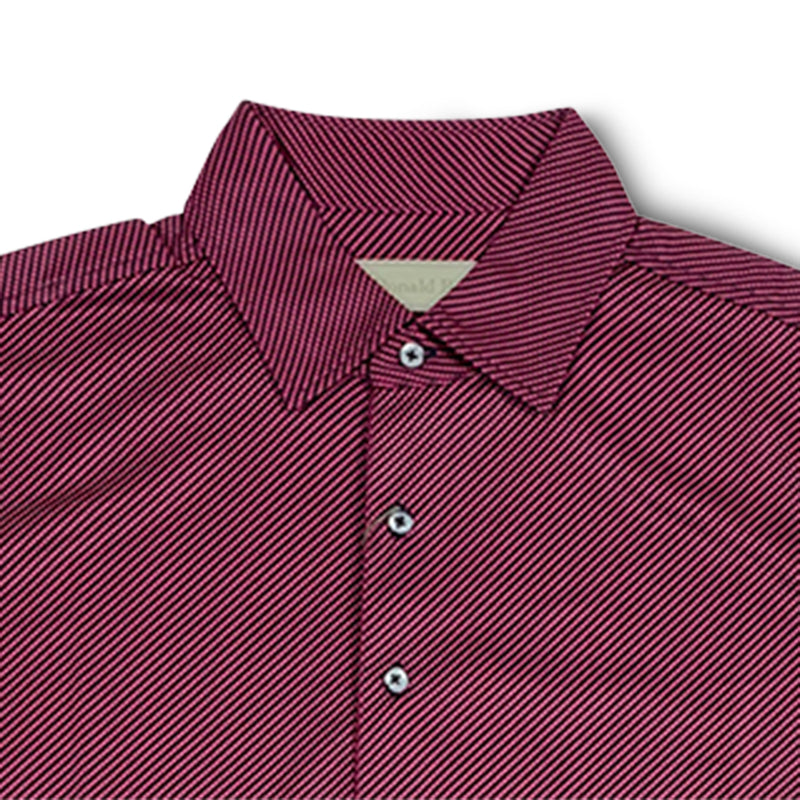 Donald Ross Mens Short Sleeve DIAGONAL PRINT on JERSEY - BLACK / CHERRY