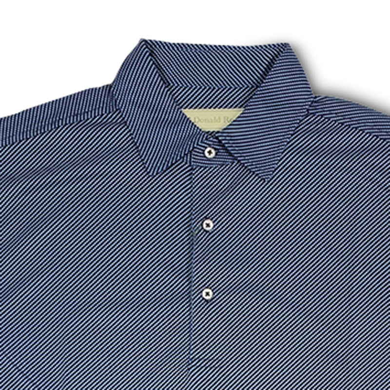 Donald Ross Mens Short Sleeve DIAGONAL PRINT on JERSEY - BLACK / GULF BLUE