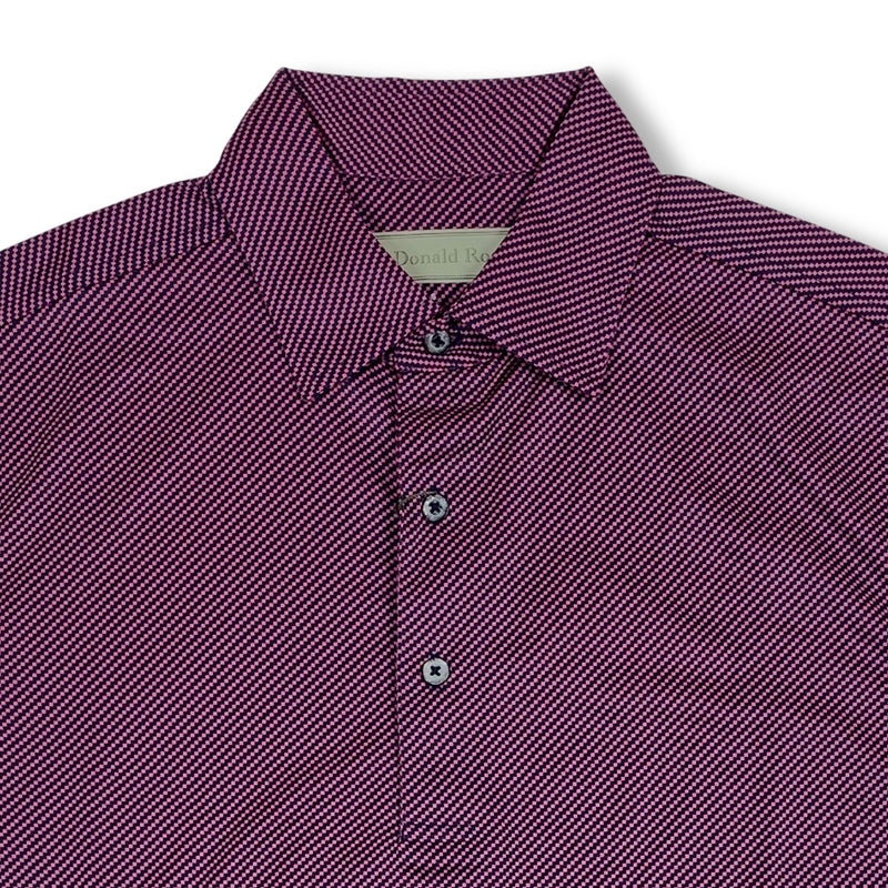 Donald Ross Mens Short Sleeve DIAGONAL PRINT on JERSEY - NAVY / GUAVA