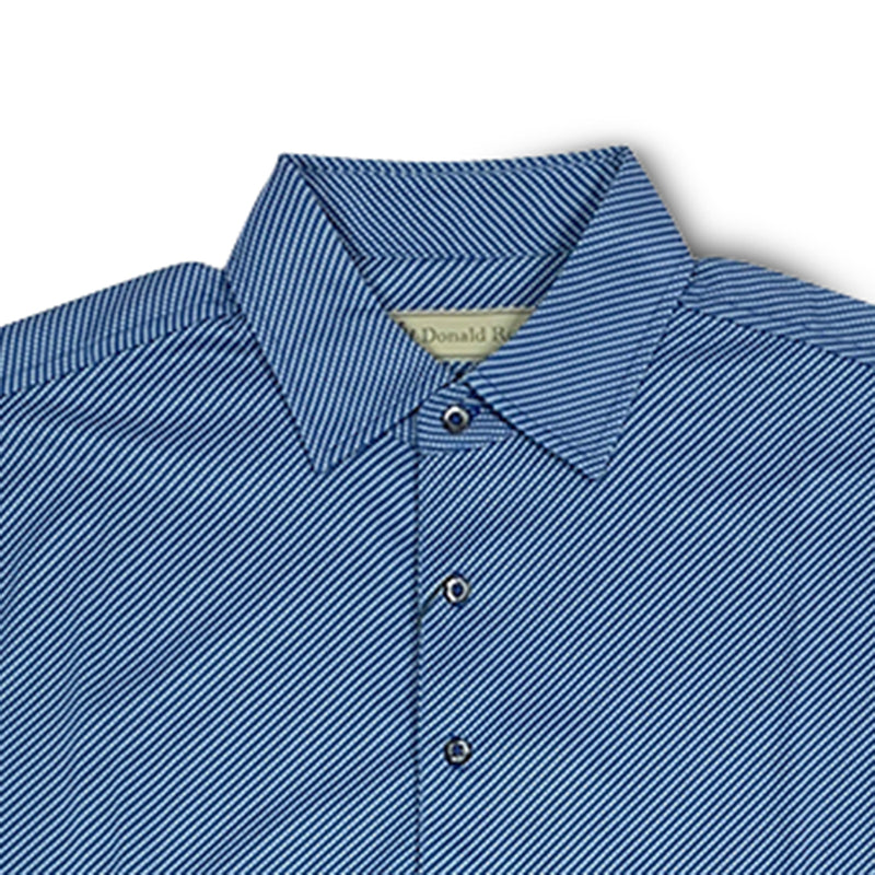 Donald Ross Mens Short Sleeve DIAGONAL PRINT on JERSEY - PATRIOT BLUE / CREAM