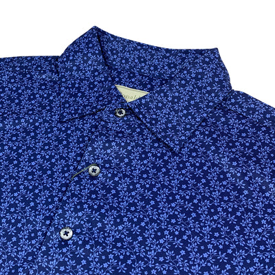 Donald Ross Mens Floral Print Polo - NAVY