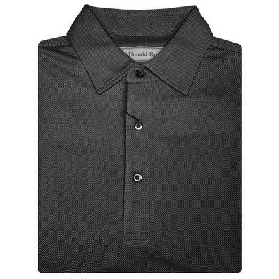 Donald Ross Short Sleeve JACQUARD Solid SELF Collar - BLACK