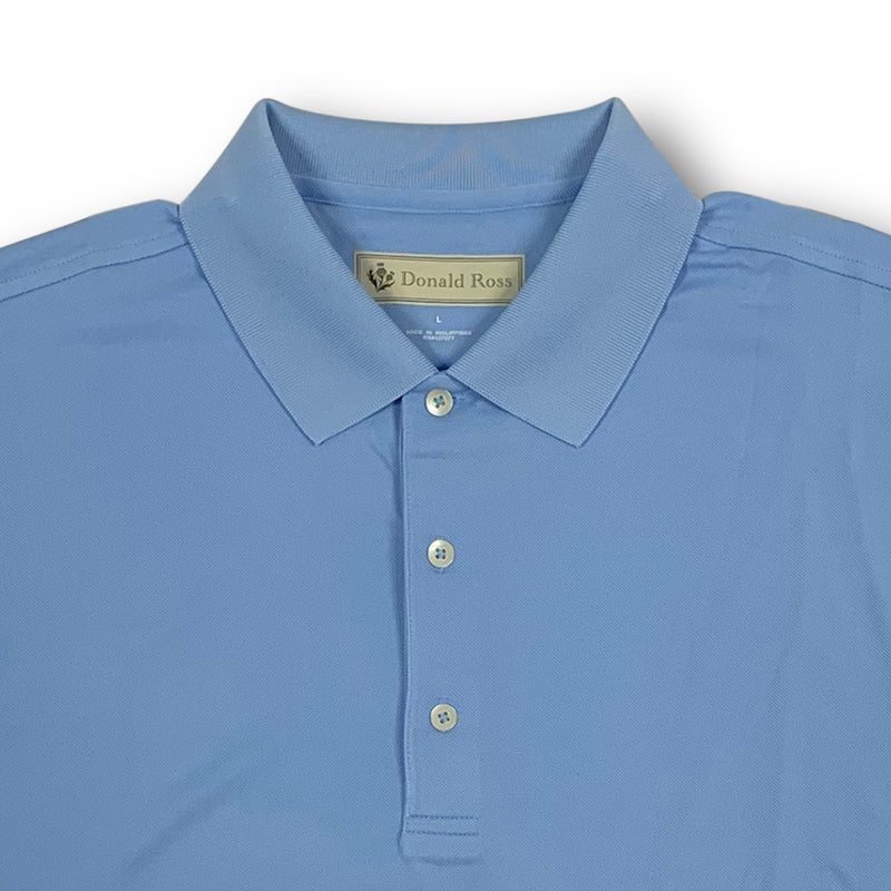 Mens Short Sleeve Lacoste style PIQUE Knit Collar - CAROLINA BLUE