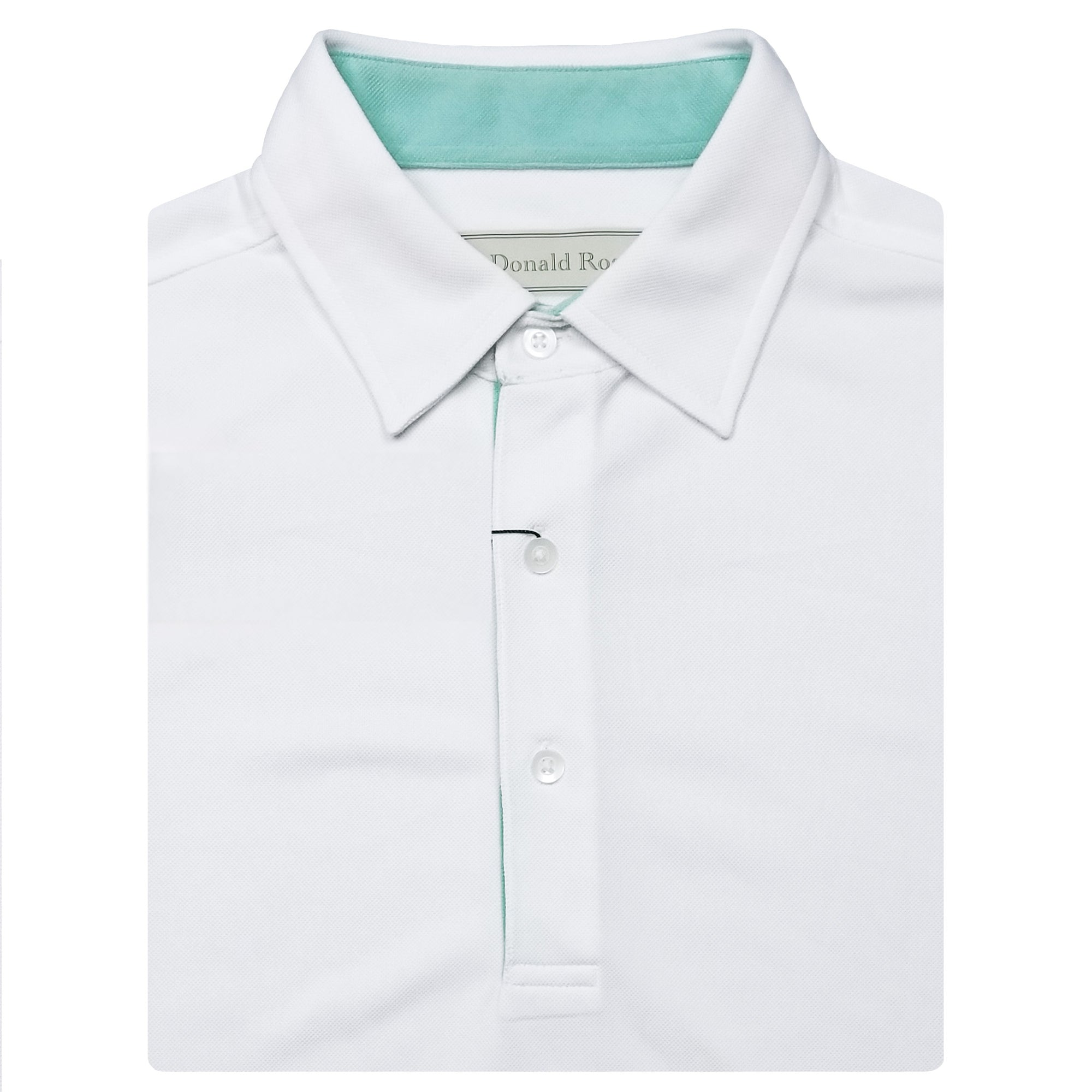 fba7afdf Mens Short Sleeve Classic Lacoste Style Solid PIQUE SELF COLLAR - WHIT -  Golf Anything US