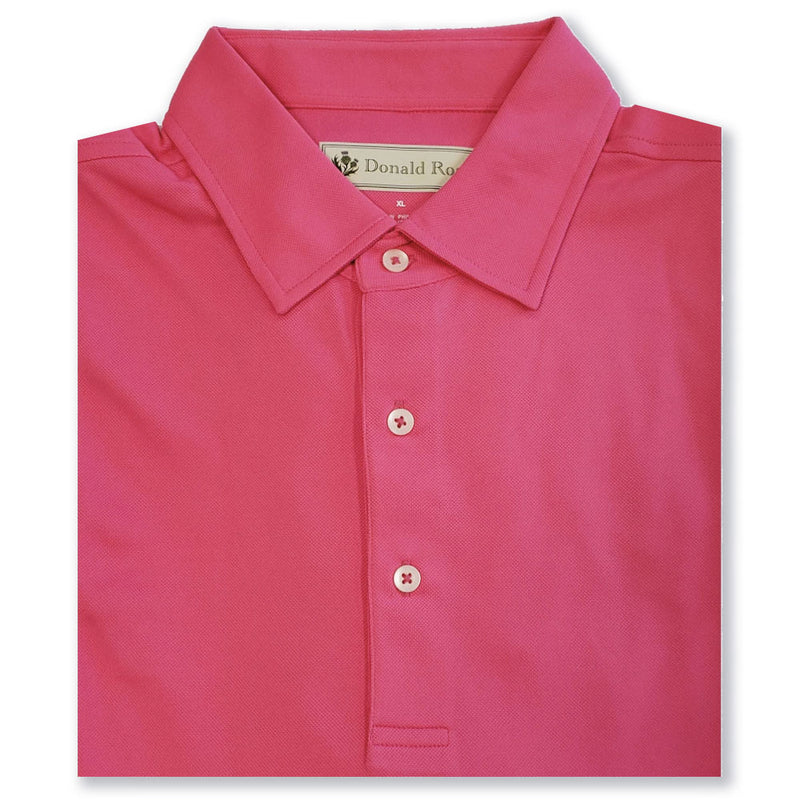 Donald Ross Mens Short Sleeve SOLID JERSEY, Self Collar - FLAMINGO