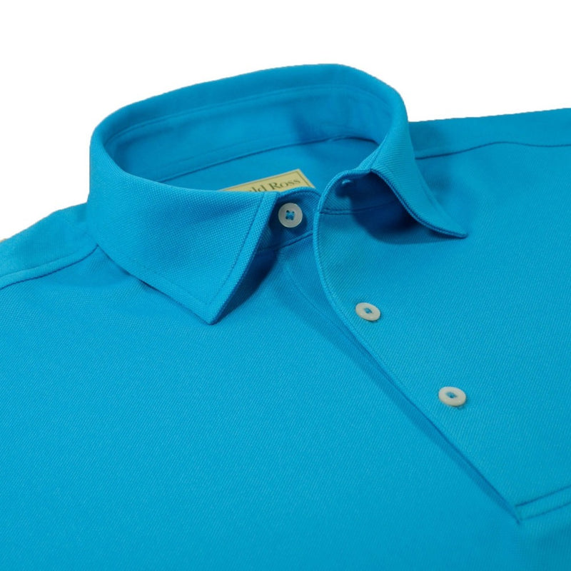 Donald Ross Mens Performance Pique Self Collar Polo - BAHAMA