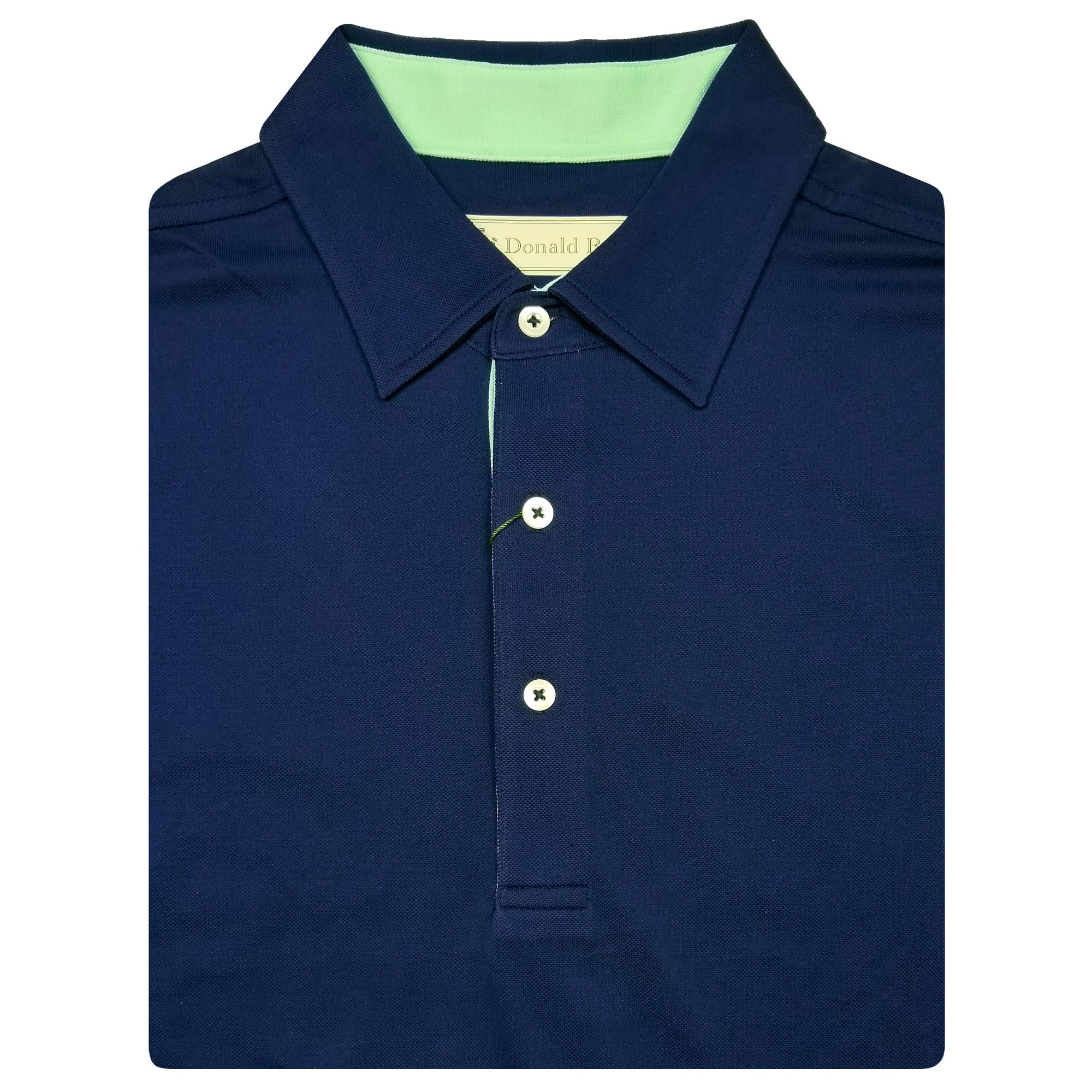 f13616a2c Mens Short Sleeve Classic Lacoste Style Solid PIQUE SELF COLLAR -  NAVY/SEAFOAM