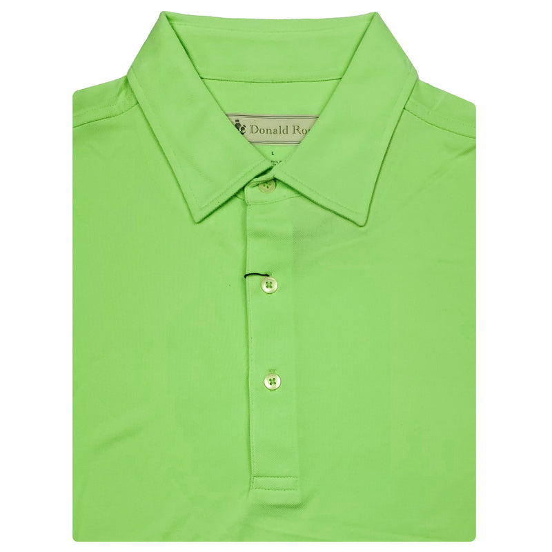 Mens Short Sleeve Classic Lacoste Style Solid Pique Self Collar - KELLY GREEN