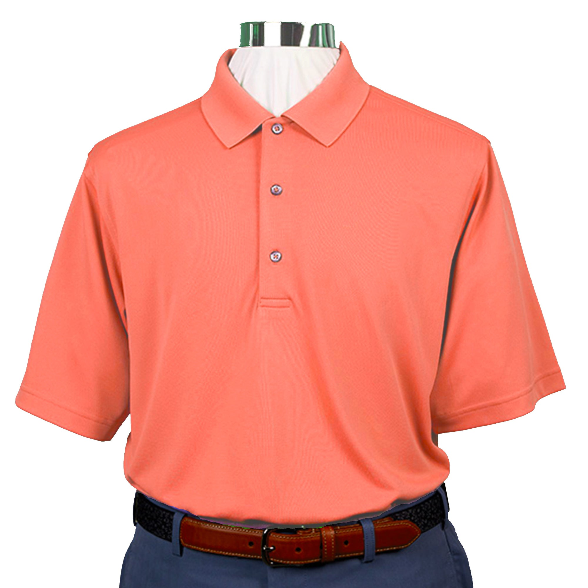 a41e029f86 Mens Short Sleeve Lacoste Style PIQUE - Knit Collar - CORAL