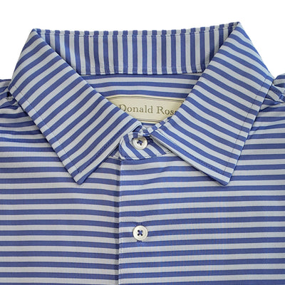 Donald Ross Mens Short Sleeve 2 color feeder stripe JERSEY polo, Self Collar - PERIWINKLE/GRANITE