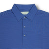 Donald Ross Mens Short Sleeve 2 Color Feeder Stripe JERSEY Polo, Self Collar - BLACK / GULF BLUE