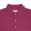 Donald Ross Mens Short Sleeve 2 Color Feeder Stripe JERSEY Polo, Self Collar - NAVY / BERRY