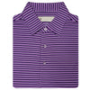 Mens Short Sleeve 3 Color Bold SHADOW Stripe JERSEY with Self Collar - ORCHID/NAVY/CREAM