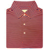 Mens Short Sleeve 3 Color Bold SHADOW Stripe JERSEY with Self Collar - PUMPKIN/NAVY/CREAM