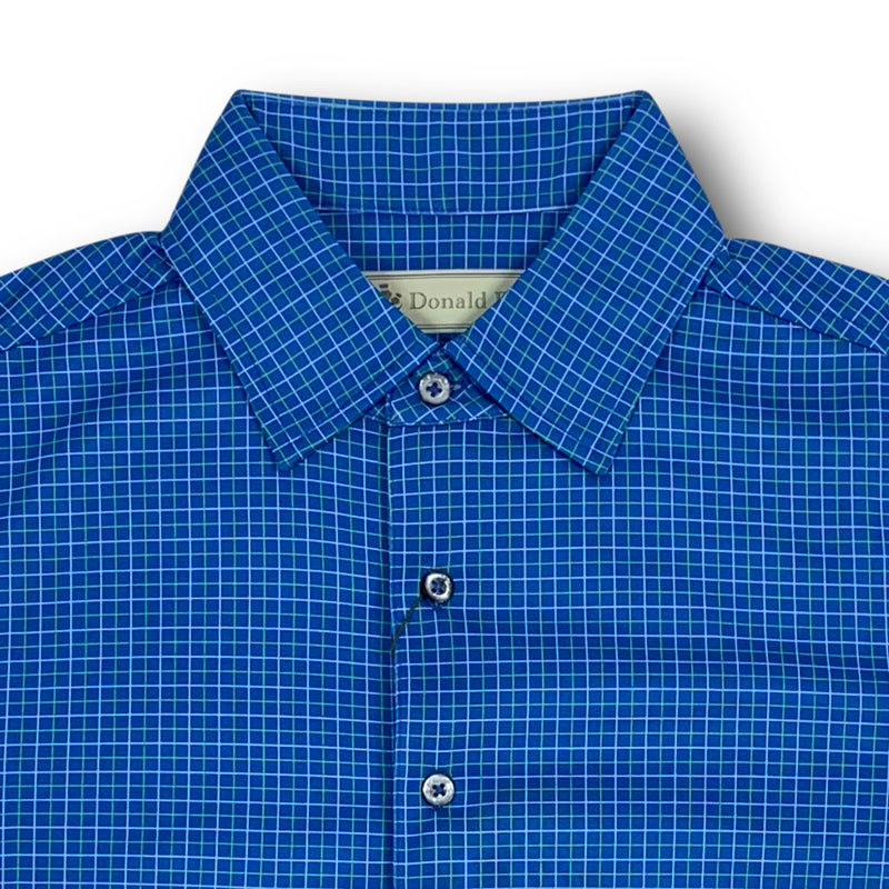 Donald Ross Short Sleeve Tattersall Print Polo with 3 button Placket - PATRIOT BLUE/ IVY / CREAM