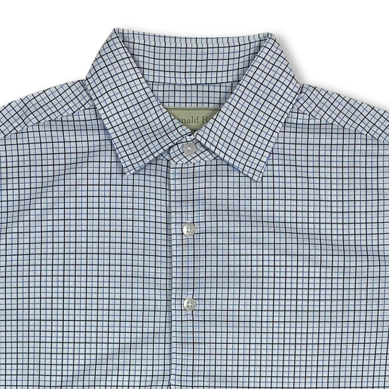 Donald Ross Short Sleeve Tattersall Print Polo with 3 button Placket - WHITE / BLACK / GULF BLUE