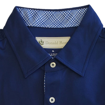 Donald Ross Mens Short Sleeve PRINCE OF WALES, Self Collar - NAVY