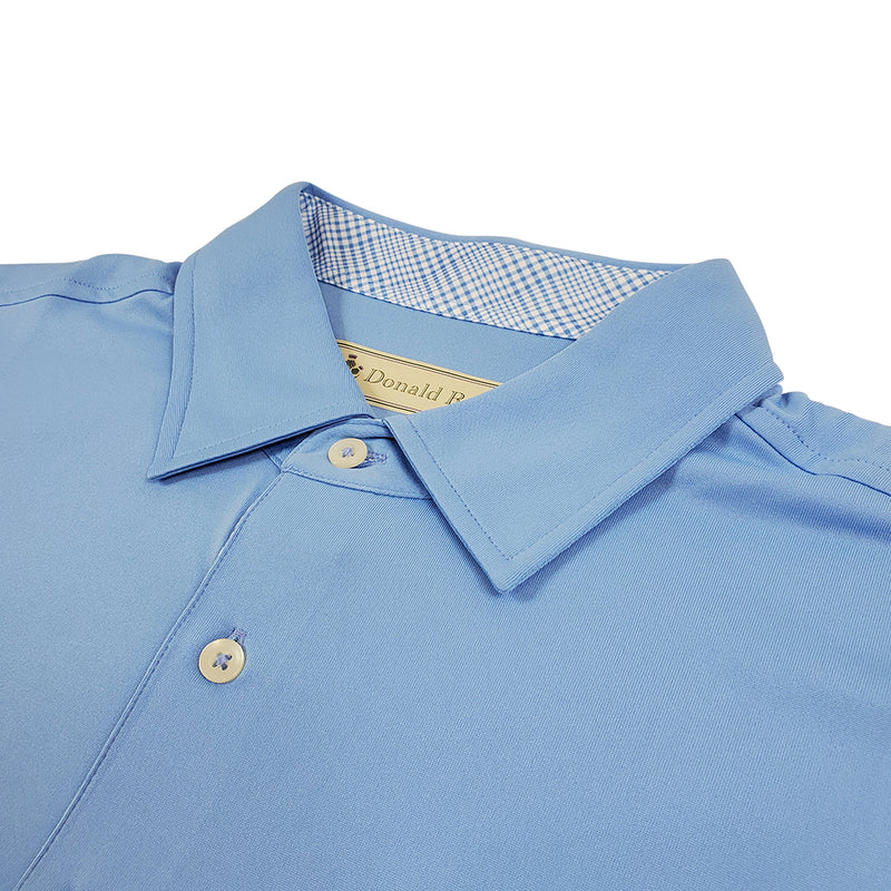 Donald Ross Mens Short Sleeve PRINCE OF WALES, Self Collar - PACIFIC