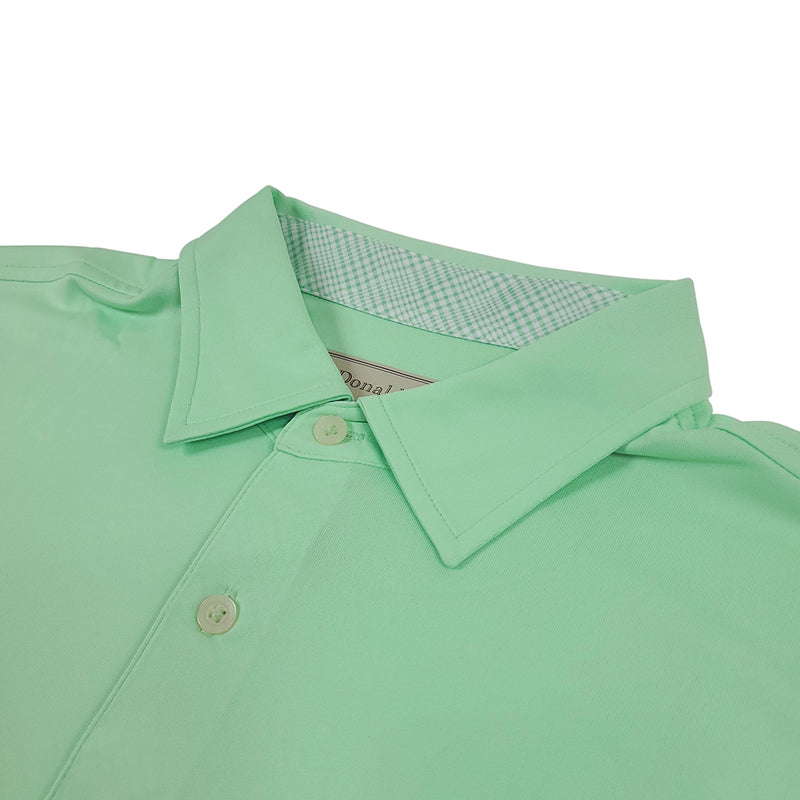 Donald Ross Mens Short Sleeve PRINCE OF WALES, Self Collar - SPEARMINT