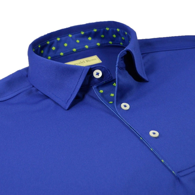 Donald Ross Mens Thistle Placket Solid Jersey Polo - NAVY / CHARTREUSE