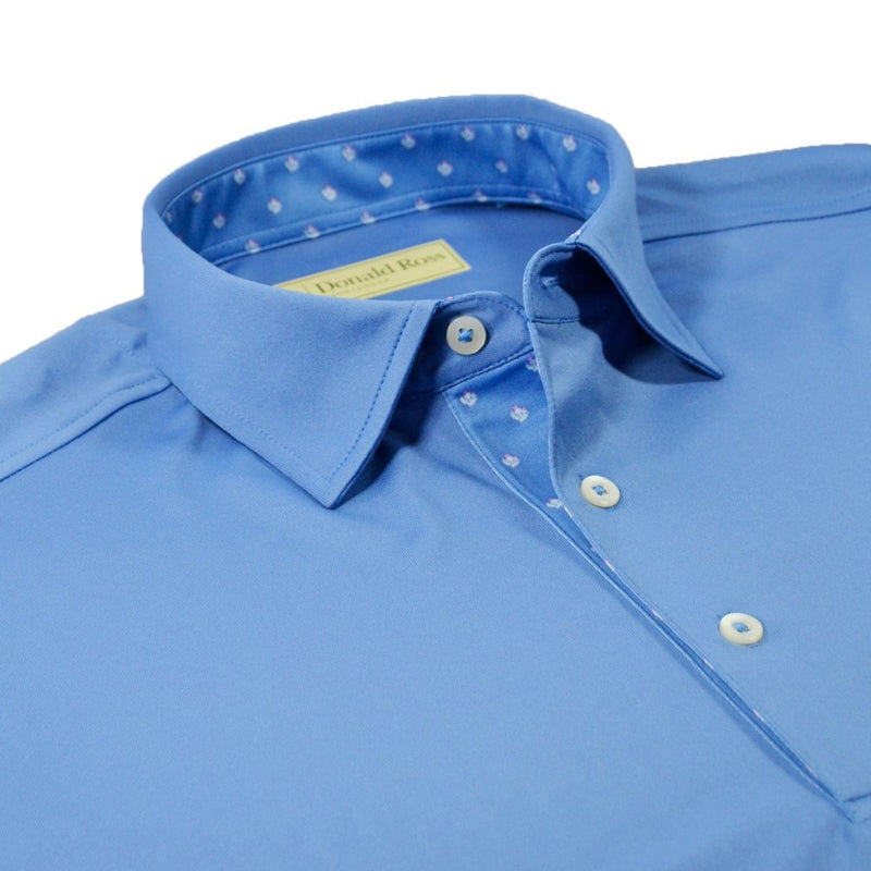 Donald Ross Mens Thistle Placket Solid Jersey Polo - DOLPHIN / OYESTER