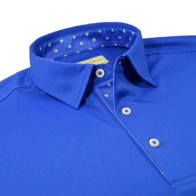 Donald Ross Mens Thistle Placket Solid Jersey Polo - ROYAL / SEAFOAM