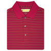 Mens Short Sleeve 3 Color Twin Stripe JERSEY with KNIT Collar - CARDINAL/NAVY/IRISH GREEN