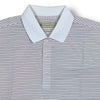 Donald Ross Mens Short Sleeve 3 Color Stripe JERSEY Polo, Knit Collar - WHITE / PATRIOT BLUE / MANDARIN