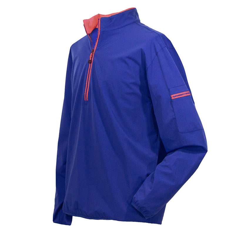Donald Ross Mens Packable Nylon 1/2 Zip STRETCH Pullover - ROYAL BLUE