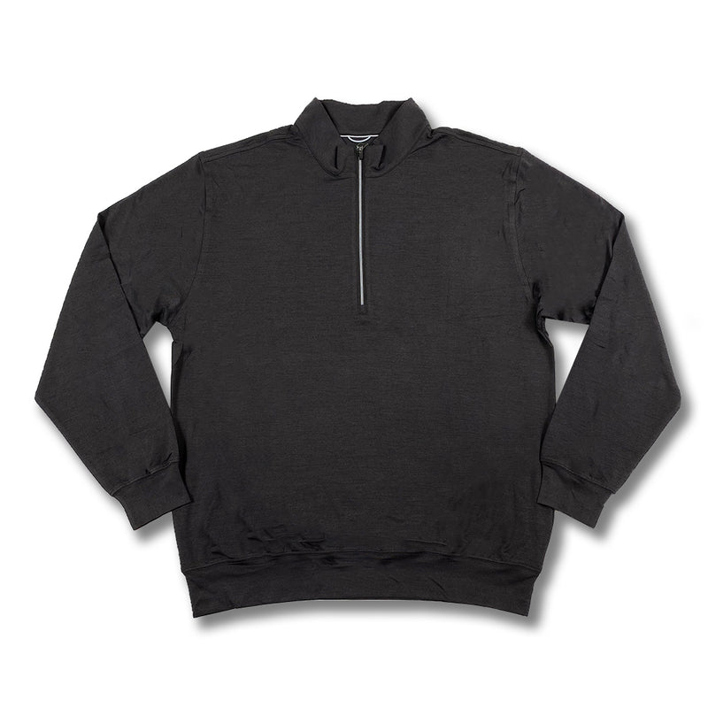 Donald Ross Mens Lightweight Long Sleeves Melange Performance 1/2 Zip Pullover - BLACK