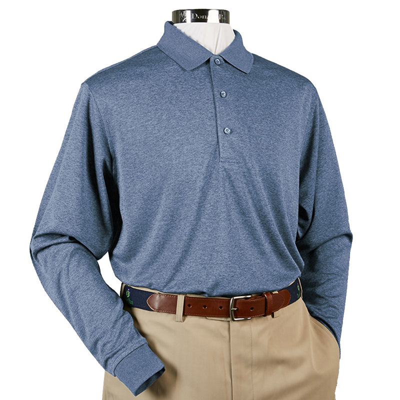 Donald Ross Long Sleeve Polo Knit Collar - STEEL BLUE