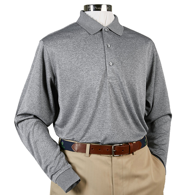 Donald Ross Long Sleeve Polo Knit Collar - STEEL GREY