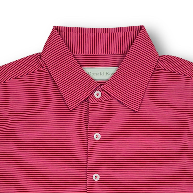 Donald Ross Mens Short Sleeve Micro Stripe JERSEY Polo, Self Collar - BERRY / NAVY